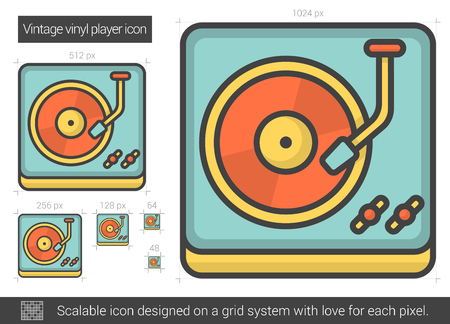 Vintage vinyl player vector line icon isolated on white background. Vintage vinyl player line icon for infographic, website or app. Scalable icon designed on a grid system. Illustration