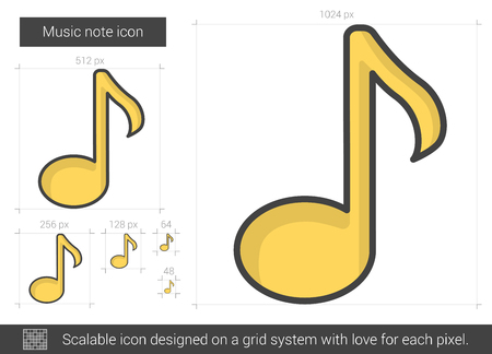 Music note vector line icon isolated on white background. Music note line icon for infographic, website or app. Scalable icon designed on a grid system.