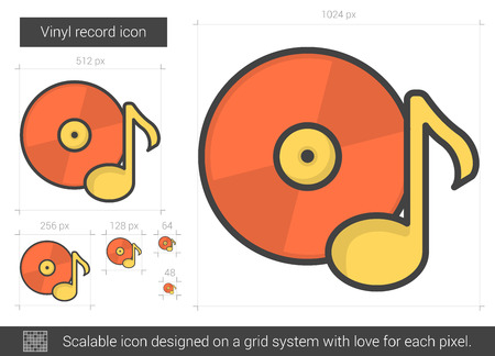 Vinyl record vector line icon isolated on white background. Vinyl record line icon for infographic, website or app. Scalable icon designed on a grid system. Illustration