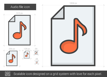 Audio file vector line icon isolated on white background. Audio file line icon for infographic, website or app. Scalable icon designed on a grid system. Illustration