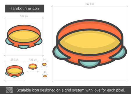 scalable: Tambourine vector line icon isolated on white background. Tambourine line icon for infographic, website or app. Scalable icon designed on a grid system. Illustration