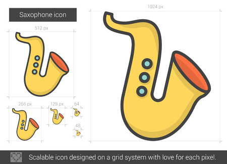 melodic: Saxophone vector line icon isolated on white background. Saxophone line icon for infographic, website or app. Scalable icon designed on a grid system.