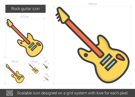electric grid: Rock guitar vector line icon isolated on white background. Rock guitar line icon for infographic, website or app. Scalable icon designed on a grid system.