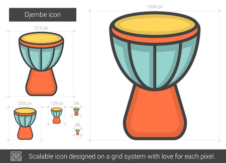 Djembe vector line icon isolated on white background. Djembe line icon for infographic, website or app. Scalable icon designed on a grid system. Illustration