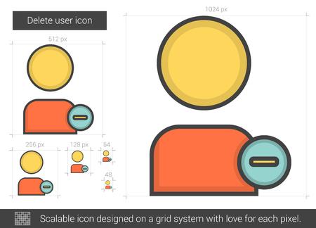 Verwijder gebruiker vector lijn icoon geïsoleerd op een witte achtergrond. Verwijder gebruikersregelpictogram voor infographic, website of app. Schaalbaar pictogram dat is ontworpen op een roostersysteem. Vector Illustratie