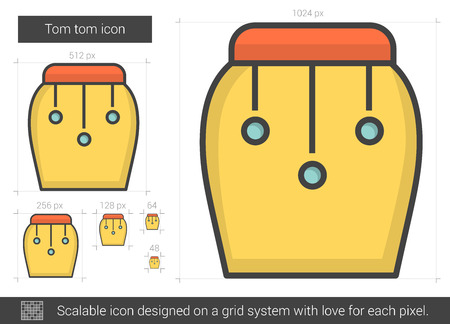 rhythm rhythmic: Tom tom vector line icon isolated on white background. Tom tom line icon for infographic, website or app. Scalable icon designed on a grid system.