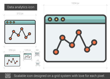 Data analytics vector line icon isolated on white background. Data analytics line icon for infographic, website or app. Scalable icon designed on a grid system.