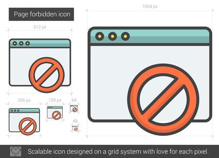 Seite verboten Vektorlinie Symbol auf weißem Hintergrund. Seite verbotene Linie Symbol für Infografik, die Website oder App. Scalable-Symbol auf einem Grid-System konzipiert. Standard-Bild - 64064397