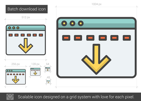 batch: Batch download vector line icon isolated on white background. Batch download line icon for infographic, website or app. Scalable icon designed on a grid system. Illustration