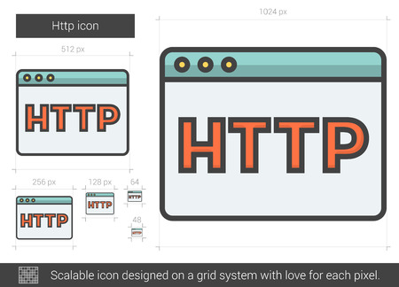 http: Http vector line icon isolated on white background. Http line icon for infographic, website or app. Scalable icon designed on a grid system.