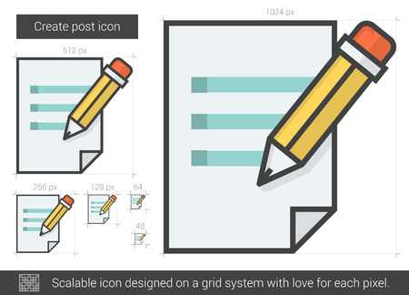 scalable: Create post vector line icon isolated on white background. Create post line icon for infographic, website or app. Scalable icon designed on a grid system. Illustration