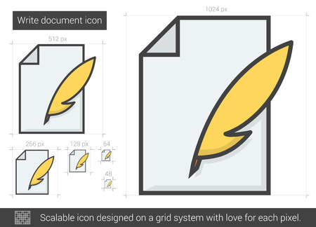Write document vector line icon isolated on white background. Write document line icon for infographic, website or app. Scalable icon designed on a grid system. Illustration