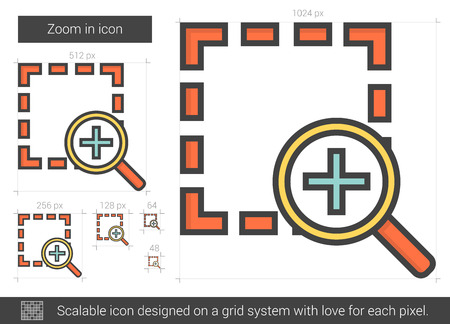 zoom in: Zoom in vector line icon isolated on white background. Zoom in line icon for infographic, website or app. Scalable icon designed on a grid system. Illustration