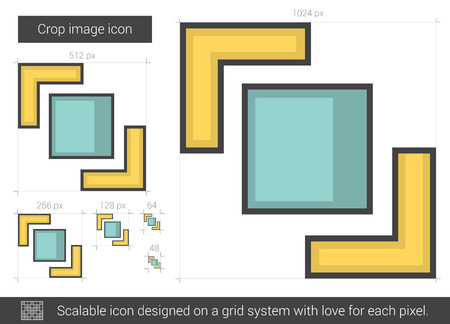 Crop image vector line icon isolated on white background. Crop image line icon for infographic, website or app. Scalable icon designed on a grid system.