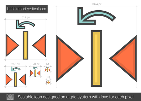 reflect: Undo reflect vertical vector line icon isolated on white background. Undo reflect vertical line icon for infographic, website or app. Scalable icon designed on a grid system. Illustration