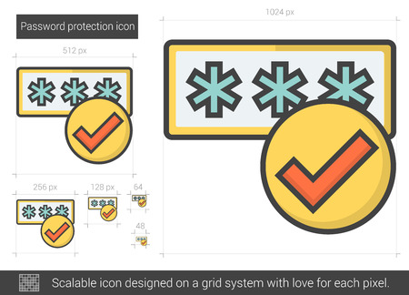 Password protection vector line icon isolated on white background. Password protection line icon for infographic, website or app. Scalable icon designed on a grid system. Çizim