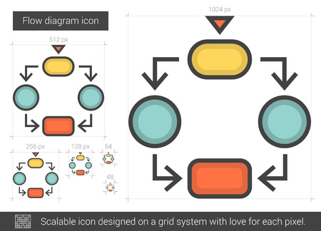 scalable: Flow diagram vector line icon isolated on white background. Flow diagram line icon for infographic, website or app. Scalable icon designed on a grid system. Illustration