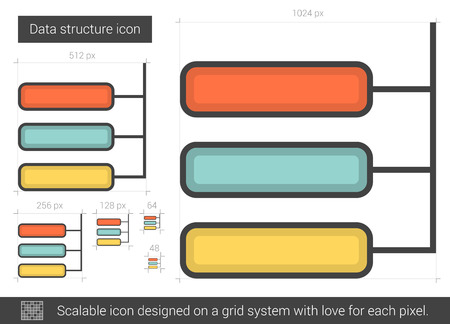 Data structure vector line icon isolated on white background. Data structure line icon for infographic, website or app. Scalable icon designed on a grid system.