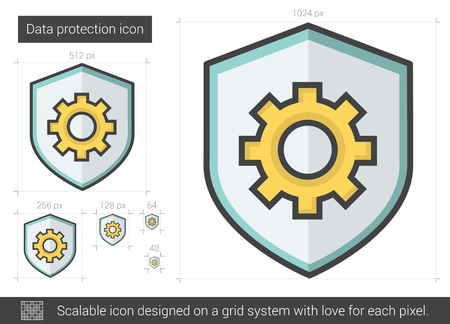 protection line: Data protection vector line icon isolated on white background. Data protection line icon for infographic, website or app. Scalable icon designed on a grid system. Illustration