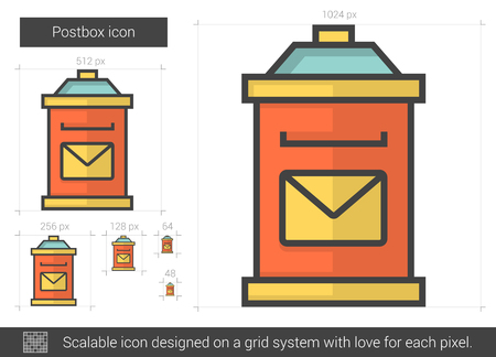 postbox: Postbox vector line icon isolated on white background. Postbox line icon for infographic, website or app. Scalable icon designed on a grid system. Illustration