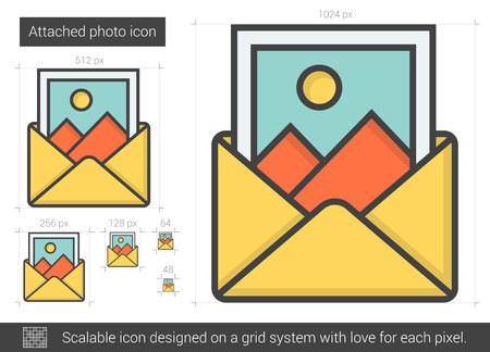 Attached photo vector line icon isolated on white background. Attached photo line icon for infographic, website or app. Scalable icon designed on a grid system. Reklamní fotografie - 64065869