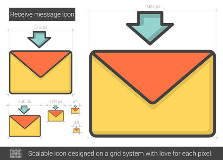 receive: Receive message vector line icon isolated on white background. Receive message line icon for infographic, website or app. Scalable icon designed on a grid system.