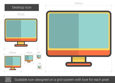 lcd display: Desktop vector line icon isolated on white background. Desktop line icon for infographic, website or app. Scalable icon designed on a grid system.