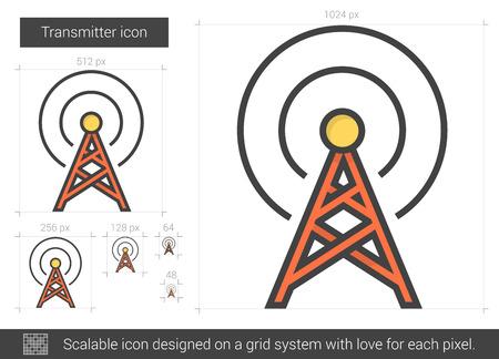 Icône de ligne vecteur émetteur isolé sur fond blanc. Icône de ligne transmetteur pour infographie, site Web ou application. Icône évolutive conçue sur un système de grille. Banque d'images - 64057911