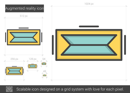 computer simulation: Augmented reality vector line icon isolated on white background. Augmented reality line icon for infographic, website or app. Scalable icon designed on a grid system. Illustration