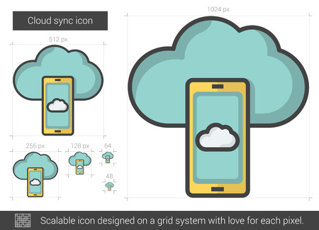 Cloud sync vector line icon isolated on white background. Cloud sync line icon for infographic, website or app. Scalable icon designed on a grid system. Çizim