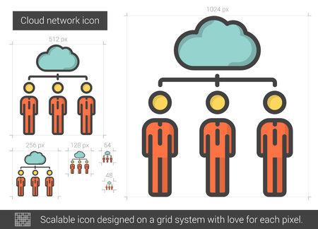 scalable: Cloud network vector line icon isolated on white background. Cloud network line icon for infographic, website or app. Scalable icon designed on a grid system.