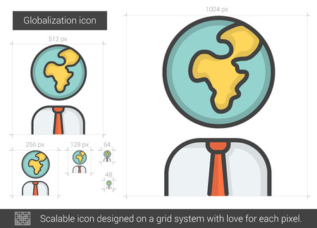 globalization: Globalization vector line icon isolated on white background. Globalization line icon for infographic, website or app. Scalable icon designed on a grid system. Illustration