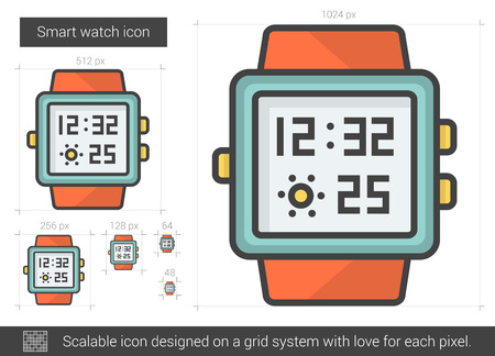 smart grid: Smart watch vector line icon isolated on white background. Smart watch line icon for infographic, website or app. Scalable icon designed on a grid system.