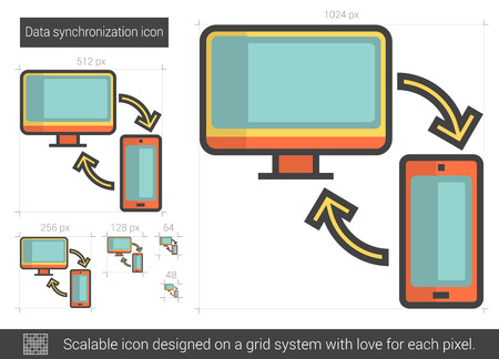 storage device: Data synchronization vector line icon isolated on white background. Data synchronization line icon for infographic, website or app. Scalable icon designed on a grid system.