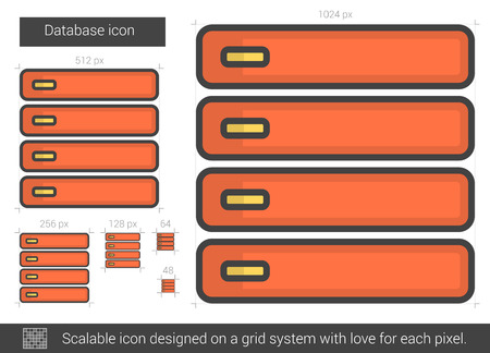storage device: Database vector line icon isolated on white background. Database line icon for infographic, website or app. Scalable icon designed on a grid system. Illustration