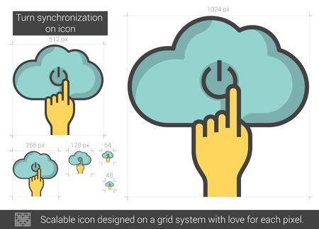 turn on: Turn synchronization on vector line icon isolated on white background. Turn synchronization on line icon for infographic, website or app. Scalable icon designed on a grid system.