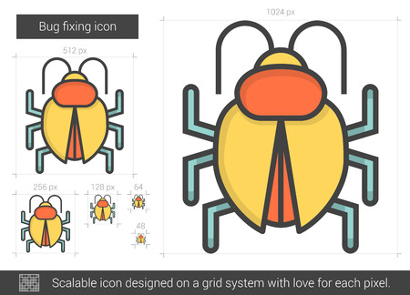 Bug fixing vector line icon isolated on white background. Bug fixing line icon for infographic, website or app. Scalable icon designed on a grid system.