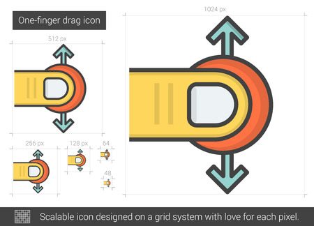 One-finger drag vector line icon isolated on white background. One-finger drag line icon for infographic, website or app. Scalable icon designed on a grid system.