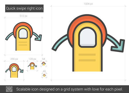 swipe: Quick swipe right vector line icon isolated on white background. Quick swipe right line icon for infographic, website or app. Scalable icon designed on a grid system. Illustration