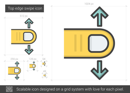scalable: Top edge swipe vector line icon isolated on white background. Top edge swipe line icon for infographic, website or app. Scalable icon designed on a grid system. Illustration