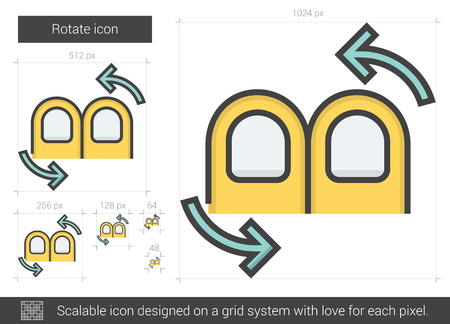 flèche double: Rotate vector line icon isolated on white background. Rotate line icon for infographic, website or app. Scalable icon designed on a grid system. Illustration