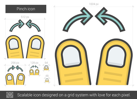multi finger: Pinch vector line icon isolated on white background. Pinch line icon for infographic, website or app. Scalable icon designed on a grid system.