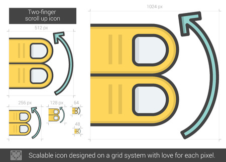 scroll up: Two-finger scroll up vector line icon isolated on white background. Two-finger scroll up line icon for infographic, website or app. Scalable icon designed on a grid system.