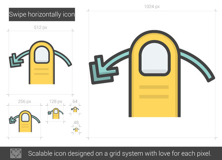 horizontally: Swipe horizontally vector line icon isolated on white background. Swipe horizontally line icon for infographic, website or app. Scalable icon designed on a grid system. Illustration
