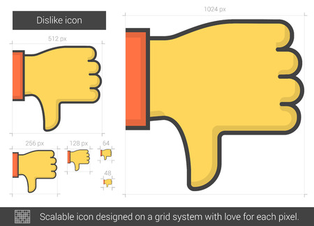 expressing negativity: Dislike vector line icon isolated on white background. Dislike line icon for infographic, website or app. Scalable icon designed on a grid system.