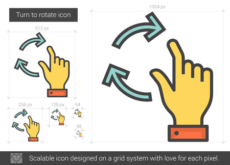 rotate: Turn to rotate vector line icon isolated on white background. Turn to rotate line icon for infographic, website or app. Scalable icon designed on a grid system.