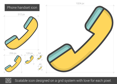 old phone: Phone handset vector line icon isolated on white background. Phone handset line icon for infographic, website or app. Scalable icon designed on a grid system. Illustration