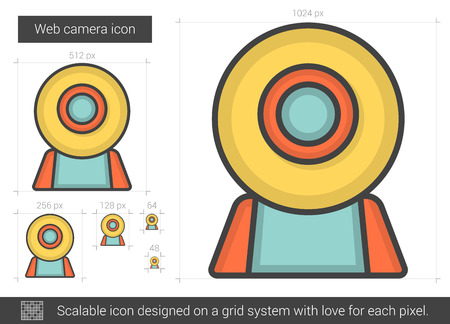 Web camera vector line icon isolated on white background. Web camera line icon for infographic, website or app. Scalable icon designed on a grid system. Illustration