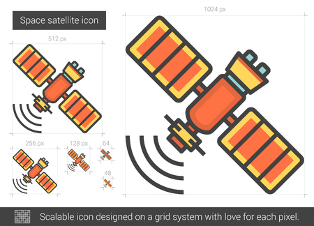 wireless signal: Space satellite vector line icon isolated on white background. Space satellite line icon for infographic, website or app. Scalable icon designed on a grid system.