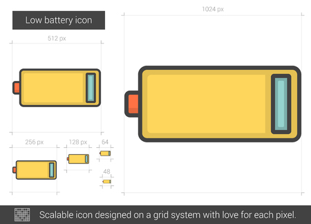 telephone pole: Low battery vector line icon isolated on white background. Low battery line icon for infographic, website or app. Scalable icon designed on a grid system. Illustration